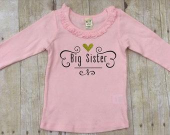 Big Sister Shirt-Big Sister Pink Shirt-Sibling Shirt-New Baby Announcement Shirt-Big Sister Gold Glitter