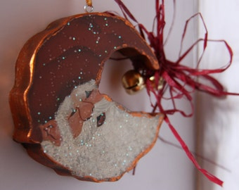 Santa ornament, Santa, Wood Santa ornament, Door Hanger, Christmas decor, Santa wall art