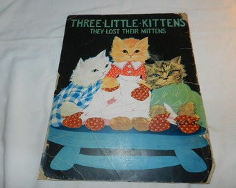 Three Little Kittens Book Page - Artwork from Vintage Children's Book - Ready to Frame Print - Nursery Art -Ephemera- Fern Bisel Peat 31-116