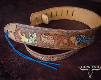 Custom Leather Guitar Strap, Hand tooled, Hand Made, Carved and Painted Geckos made in NL by Cowtsh