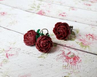 Peony jewelry set, peony earrings, peony ring, flower jewelry, beautiful flowers, handmade jewelry, clay peony, polymer clay flowers.