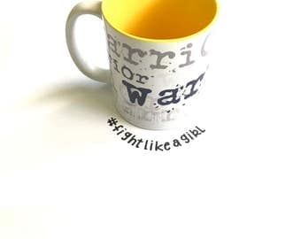 Endometriosis Warrior/Awareness Mug with yellow interior