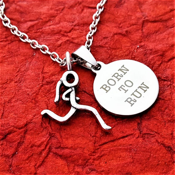 Running Jewelry, Marathon Jewelry, Born to Run, Running Charm Necklace, Coach Trainer Runner Gift, Track Team Gifts, Cross Country Necklace