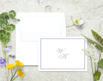 Monogram Note Cards, Personalized Stationery Set, Note Cards with Border, Thank You Cards, Classic Stationary Set, Custom Note, Monogrammed