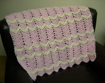Pink and White Baby Toddler Afghan Blanket Throw