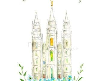 LDS Salt Lake Utah Temple 2 Color Watercolor Print Wedding Home Decor Gift Floral Peony Painting Art Baptism Birthday Custom Christmas