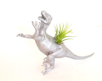 Silver Raptor Dinosaur Planter with Ionantha Air Plant in  Air Plant holder