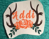 Antlers With Roses And Name Decal , Gift For Southern Girl , Easter Basket Gift , Gift For Girlfriend , Country Wedding Gift , Truck Decal