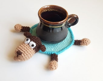 Gift for mother Gift for teen Table decor Drink coaster Table coasters monkey decor Crochet coaster Monkey toy Tea coaster Funny monkey gift