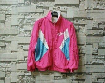 Vintage las vegas club windbreaker zip up neon color multicolor jacket sportwear adidas windbreaker nike windbreaker