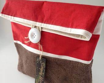 Reversible Lunch Bag, Lunch Pouch, Hemp Linen, Up-cycled Coffee Bean Bag