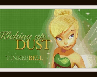 Tinkerbell Cross Stitch - Tink - Fairy - Disney - Kicking Up Dust - PDF Download