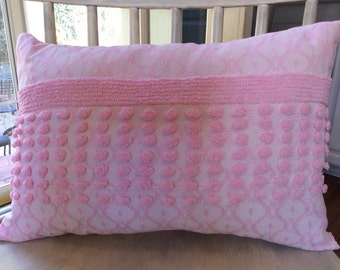 Vintage Pink Chenille Custom Pillow