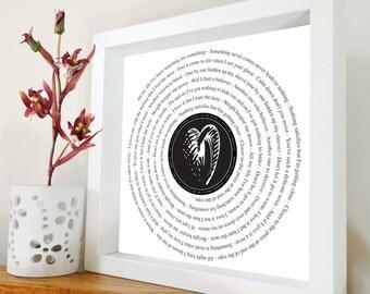 Foo Fighters - All my life framed song lyrics – Framed print in black or white box frame - Gift for him - Gift for her - Birthday Gift
