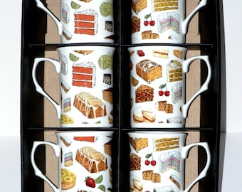 Cakes Bone china mugs - set of 6 gift boxed - Box of 6 each slightly different