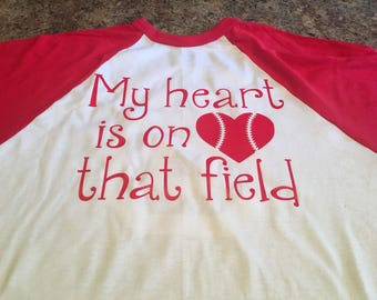 Baseball raglan tshirt. My heart is on that field. Custom with your childs name or number.
