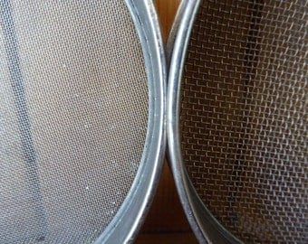 Vintage French Sieves, Stackable Sieves, Metal Sifters, Industrial, Collectable 0317027-162