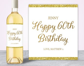60th Birthday Decorations, 60th Birthday Gifts for Women, 60th Birthday Party Decorations, Wine Bottle Label, Birthday Wine Label