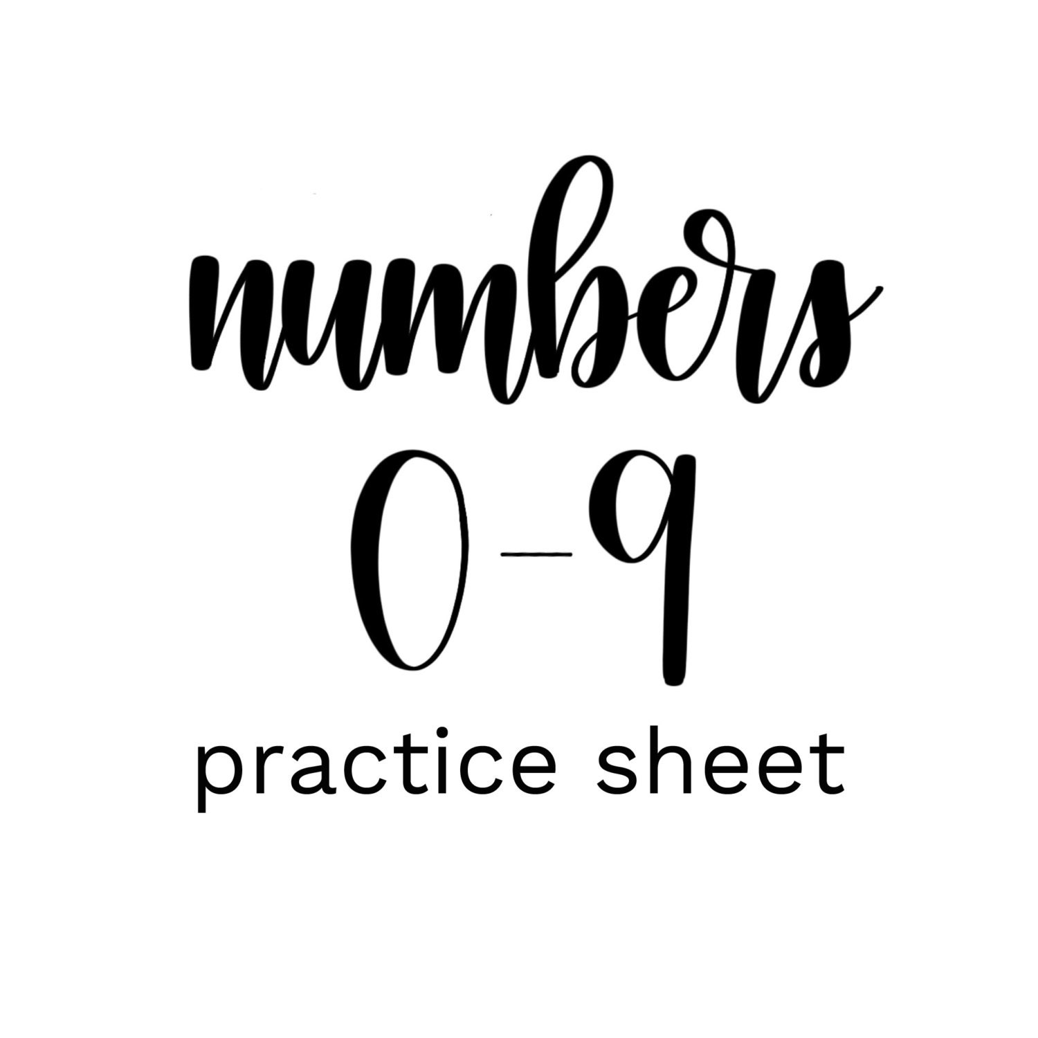 Brush lettering practice sheet numbers digital