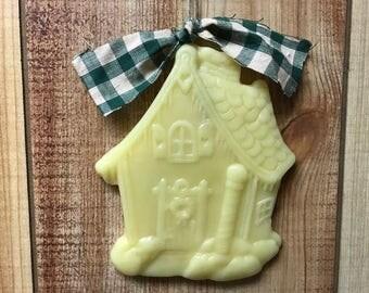 Handmade Beeswax Primitive Gingerbread House Wall Hanging German Christmas Ornament