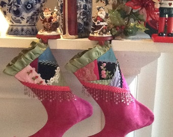 Christmas Stockings Handmade Crazy Quilt Embroidery Hot Pink Fleece with Bead Fringe