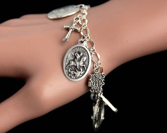 Saint George Bracelet. Catholic Bracelet. St George Charm Bracelet. Catholic Jewelry. Religious Jewelry. Handmade Jewelry.