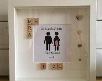 """Wedding frame, anniversary frame. Personalised """"i do"""" frame"""