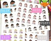 Laptop Kawaii Girls - Work Working Computer PC Study Sticker Set - Planner Stickers - Planner Decorations - Kikki-K & Erin Condren