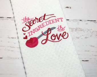 Personalized Kitchen Dish Towel, Monogrammed Kitchen Dish Towel, Embroidered Kitchen Towel, Valentine Kitchen Towel, Valentine Dish Towel