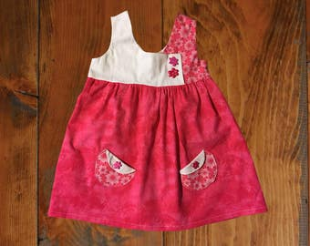 Pink with Flowers Little Girls Spring or Summer Dress, Size 2/3