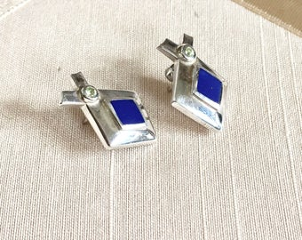 Vintage Sterling Earrings with Lapis and Peridot Diamond Shape Pierced