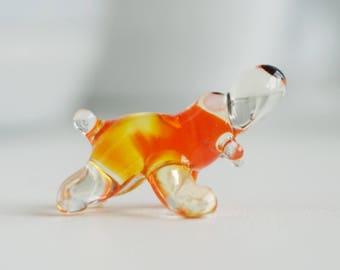 glass dog figurines, dog figurines, miniature dog, desk accessories for women, glass figures, glass ornaments, small figurines,