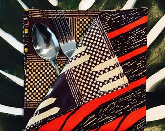 African Dinner Napkins - Reversible Cloth Napkins - Set of two (2) - brown, green, coral, cream