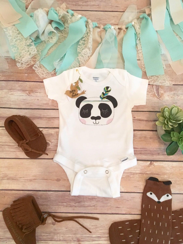 Panda Baby esie Boho Baby Clothes Tribal Baby Clothes