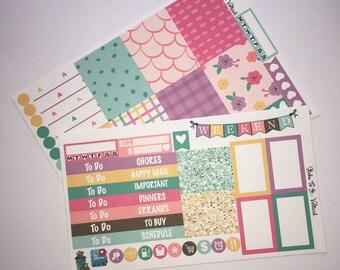 Happy Spring Mini Weekly Set ECLP Horz & Vert Planner Stickers Erin Condren Mambi Inkwell Press Filofax KikkiK Happy