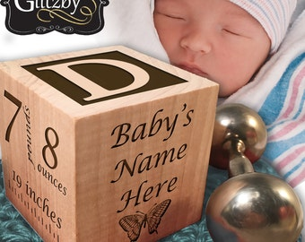 Personalized Baby Block, Your Baby's Hand and Footprints Engraved,Nursery Decor, Newborn Gift, Baby Keepsake, Photo Baby Block, Wood Block