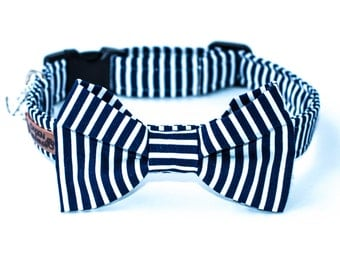 Striped Dog Bow Tie Collar Boy Stylish Dog Bow Tie Collar Navy Wedding Dog Bow Tie Collar Male Nautical Dog Bow Tie Collar For Dogs Bowtie