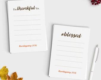 Thanksgiving Gratitude Cards - Instant Download - Print at home - Minimal Modern Design - Thankful - Friendsgiving Cards