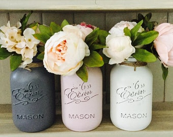 Set of 3 1litre painted mason jars with twine around rim. Great for decoration in your home or as a gift.