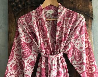 Kiyomi Pink Paisley Print Kimono Robe Dressing Gown, 100% Cotton, Byron Bay