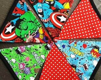 Superhero bunting, bunting flags, Avengers, fabric flags, children bedroom, home decor, 100% cotton