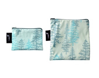 Ready to ship - Reusable Snack Bag Set - with zipper - spruce print