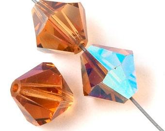 Czech Preciosa Bicone Crystal Beads - Light Colorado Topaz AB - 4mm, 6mm, 10mm (#2331)