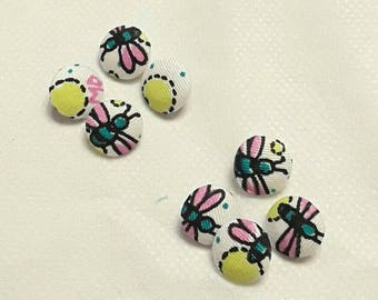 Vintage 1980s fabric covered buttons