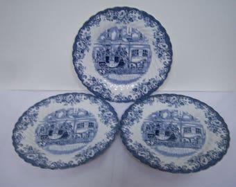 "Johnson Brothers, England, Coaching Scenes, Three Salad Plates, Child's Plate, 8"" Across, Three Plates, Blue and White,  No Damage"