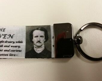 Edgar Allen Poe Keychain with gunmetal Wristlet keychain hardware Edgar Allen Poe The Raven keyChain Edgar Allen Poe Key Fob