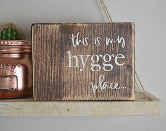Hygge Sign Scandi Scandinavian Quirky Design Plaque Hyggelig Alternative Wood Block Gift Rustic Hipster Style Quote Inspirational Modern