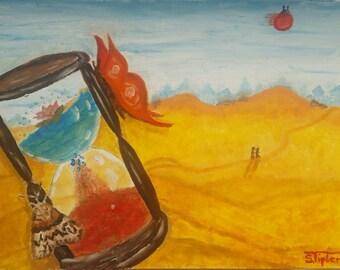 "Original oil painting ""Clock of life"" hourglass in desert clock of life"