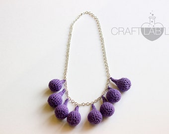 Crochet jewelry / Raindrops necklace / earrings / Christmas / gift / Jewelry set