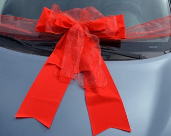 Giant ribbon in red organza and velvet